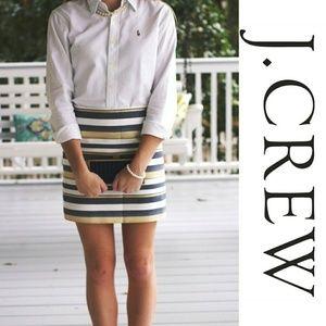 J Crew Gold Stripe Mini Skirt